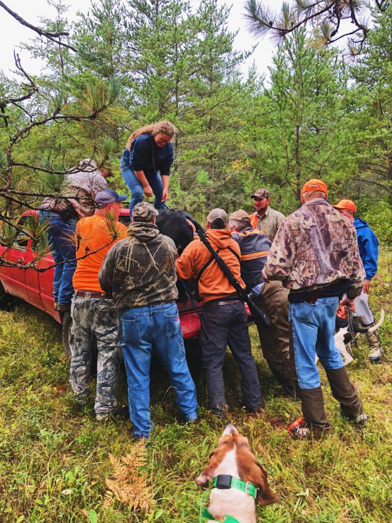 February 2020 | Rachel Germain | How many guys does it take to load a bear? | Moose Crew & Barnes Buck and Bear club team up for another 2019 harvest!